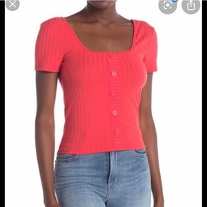 Abound Ribbed Button Front Crop